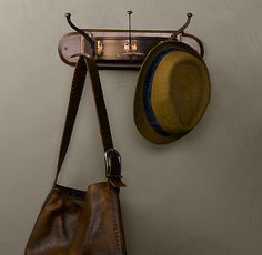 RH's English Tavern Wall Coat Rack:In the style of taverns and tea rooms, our vintage-inspired rack of 3 engraved brass hooks mounted on a beveled wood plaque offers ready stowage of coats and hats. Wood Plaques, Restoration Hardware, Old Houses, Home Accessories, Vintage Inspired, New Homes, Interior, Wall, English