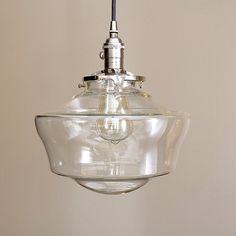 """large Schoolhouse pendant light fixture glass  globe  **SALE** coupon code """"tenpercent"""" for 10 percent off"""
