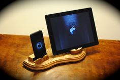 The Dual Dock special walnut wooden docking station door NotchedArt, $59.00