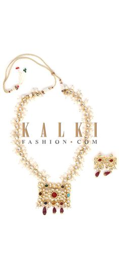 Buy Online from the link below. We ship worldwide (Free Shipping over US$100) Price-$79 Click Anywhere to Tag http://www.kalkifashion.com/necklace-made-with-navratan-kundan-and-brass-with-matching-earrings-21098.html