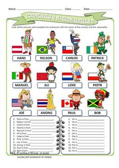 NATIONALITIES | ESL worksheets of the day | Pinterest | English ...