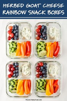 Eat the rainbow with these Herbed Goat Cheese Rainbow Snack Boxes - the perfect meal prep snack idea! Swap in your favorite fruits and veggies to customize! Make this simple snack when you meal prep for the week. Perfect for meal prep beginners. Veggie Snacks, Fruit Snacks, Quick Snacks, Savory Snacks, Healthy Snacks, Snack Recipes, Healthy Recipes, Simple Snacks, Best Snacks
