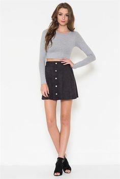 "The ""Pattie"" Black Micro Suede Mini Skirt"