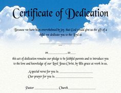 Certificate Of Dedication Certificates Images Templates Baby
