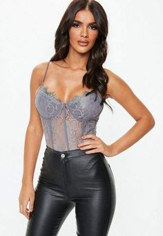 f32bb3fc5ef Missguided Tall Gray Strappy Lace Cupped Bodysuit