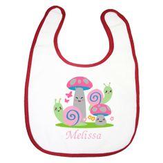snail garden baby girls feeding bib personalised embroidery $8.00 by BabysPreciousGifts