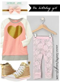 Pink and gold heart party birthday girl outfit. Party inspiration and resources also available.