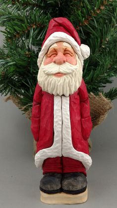 Hand Carved Wood Santa by CarvingsbyTony on Etsy