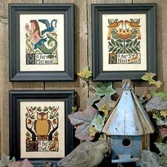 Alphabet Cross stitch (MNO)     Prairie Schooler Alphabet  {Pinned from source 9oct13} research availability - liking the mermaid and the owl muchly