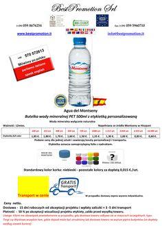 Butelka wody mineralnej PET 500ml z etykietką personalizowaną | Woda Reklamowa