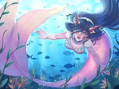 Mermay 2021 Art Feature! by Acaciathorn on DeviantArt Mermaid Artwork, Disney Characters, Fictional Characters, Deviantart, Disney Princess, Anime, Cartoon Movies, Anime Music, Fantasy Characters