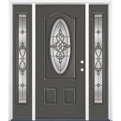 Masonite Dylan 3-Panel Insulating Core Oval Lite Left-Hand Inswing Timber Gray Fiberglass Painted Prehung Entry Door (Co