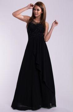 Lange jurk zwart, top versierd met borduurwerk en pailletten
