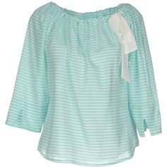 ..,merci Blouse ($91) ❤ liked on Polyvore featuring tops, blouses, turquoise, three quarter sleeve blouse, three quarter length sleeve tops, green top, wide neck tops and 3/4 sleeve blouse