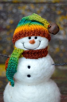Needle Felted wool Snowman by BearCreekDesign