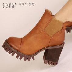 X63924 Kvoll vintage spandex cloth splicing thick high heel short boots camel