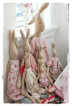 Maileg (Danish brand) bunnies. They come in six sizes: Micro (6 inches), Mini (10 inches), Medium (20 inches), Maxi (26 inches), Mega (33 inches), and Mega Maxi (42 inches). Their clothes are removable and separate clothes and accessories (hats, shoes, etc.) are available to purchase. They can range from $16-$140.