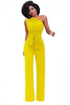 f50dcc995d3 2018 Fashion Casual One Shoulder Jumpsuit Women Sleeveless Wide Leg Lady  Bodysuits Sexy High Waist Solid Rompers Female Overall