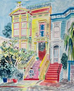 """Painted Lady"" (San Francisco) by Emily Sutton (watercolour)"