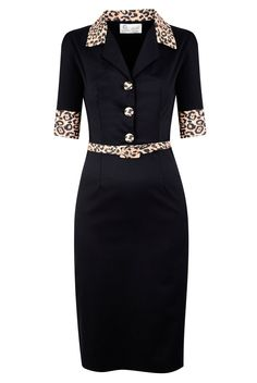 Black rockabilly vixen dress with leopard print collar, cuffs & belt, by Tara Starlet. Rockabilly Outfits, Rockabilly Fashion, Retro Fashion, Vintage Fashion, Womens Fashion, Dress Skirt, Dress Up, Business Mode, African Fashion