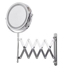 Adjustable And Extendable Round Chrome Battery Operated Magnifying Bathroom LED Illuminated Make Up Cosmetic Shaving Vanity Wall Mounted Mirror Light