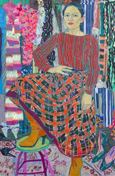 """Hope Gangloff """"Yelena"""" 2015, Acrylic and collage on canvas, 82 x 54 in."""