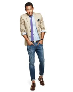 As demonstrates, turn your suit into an outfit that works for after-work  drinks/the weekend. Swap your suit pants for a pair of denim.