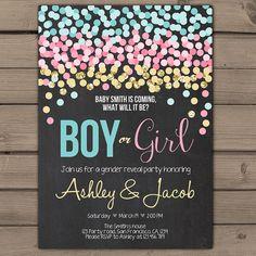 Confetti Gender reveal invitation Gender reveal party invite He or She Invite Boy or girl Baby shower invitaton Coed Printable invitation