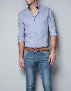 CAMISA RAYAS CONTRASTE - Camisas - Hombre - ZARA