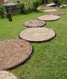 Faire une allée de jardin - cercles de roues de charrettes , du gravier, des copeaux de bois, des bâches