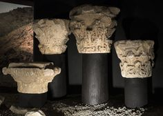 Roman column capitals from Mértola Column Capital, Roman Columns, Sconces, Portugal, Wall Lights, Display, Home Decor, Floor Space, Chandeliers