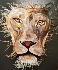 Gehaakte kop van leeuw. Freeform lion head. WIP by Wilma Poot / www.artsation.nl
