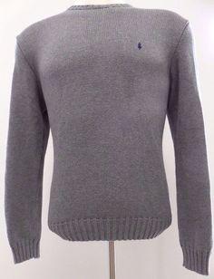 Polo Ralph Lauren Large Sweater Grey Knit Cotton Mens Crewneck Size Sz Pony Logo #PoloRalphLauren #Crewneck