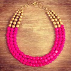 The Summer Collection Hot Pink and Gold Statement by icravejewels, $58.00