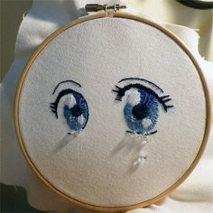 Sublimating rage through arts & crafts : Photo Embroidery On Clothes, Flower Embroidery Designs, Simple Embroidery, Hand Embroidery Patterns, Cross Stitch Embroidery, Cross Stitching, Couture, Anime Eyes, Crafty