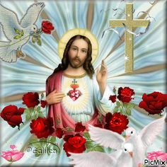 Pictures Of Jesus Christ, Religious Pictures, Beautiful Rose Flowers, Beautiful Gif, Real Image Of Jesus, Church Altar Decorations, Cross Pictures, Jesus Photo, Jesus Wallpaper