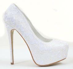 Amazon.com: Lace Overlay Glitter Almond Toe Stiletto Platform Pump White: Shoes