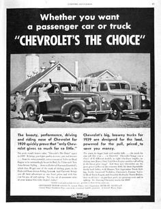 1939 Chevrolet original vintage ad. Whether you want a passenger car or truck Chevrolet's the Choice.  Features a sedan and pickup stake truck for 1939.