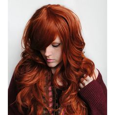 SALE Auburn wig, red wig, curly red wig, scene wig // Auburn Red Hair... (€72) ❤ liked on Polyvore featuring beauty products, haircare, hair styling tools, hair, indie hair, straight iron, flat iron, styling iron and straightening iron