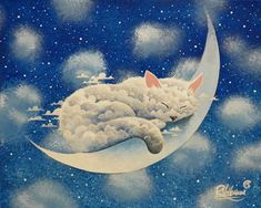 Sleeping cloud on the moon Artwork by Raphaël Vavasseur art. https://www.etsy.com/shop/RaphaelVavasseur