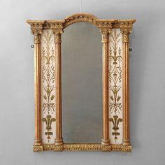 An Early 19th Century Regency Period Eglomisé Border Glass Mirror