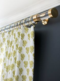 Acrylic and brass drapery rods - so glam!....my 5 favorite decorative accessories (blog article title)