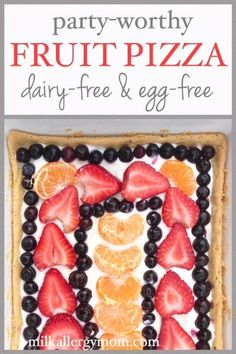 Refreshing fruit pizza recipe with milk-free and egg-free cream cheese fruit dip and sugar cookie crust! Dairy Free Snacks, Dairy Free Eggs, Egg Free Recipes, Milk Recipes, Dairy Recipes, Fruit Pizza Frosting, Cream Cheese Fruit Dip, Free Fruit, Fruit Arrangements