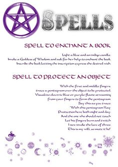 Wiccan Spells   Spell To Enchant a Book & Spell To Protect An Object