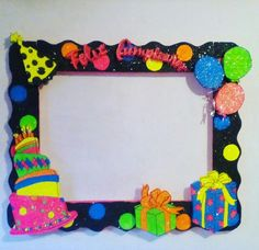 Marco de para fotos de frliz cumpleaños Party Photo Frame, Party Frame, Photo Frame Prop, Birthday Photo Booths, Birthday Photos, School Decorations, Birthday Decorations, Foam Crafts, Preschool Crafts