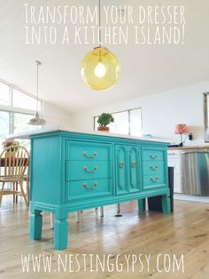 LOVE her turquoise up cycled dresser-to-kitchen island