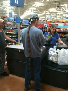 Wow! This man has some long hair! I wish mine was about half that length. lol
