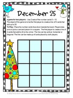 FREEBIES - A Christmas math board game from Christmas Math Games by Games 4 Learning contains 2 printable Christmas Math Board Games - Merry Christmas!
