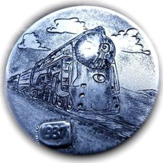 TOM MAHER HOBO NICKEL - RAILWAY NYC HUDSON LOCOMOTIVE - 1937 BUFFALO NICKEL Hobo Nickel, Locomotive, Buffalo, Cactus, Coins, Carving, Nyc, Train, Rooms