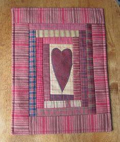 Primitive Red Homespun Quilted Valentine Mug Rug Wall Hanging